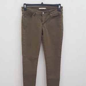 Levi's 711 Skinny Jeans Olive Army Green Size 28